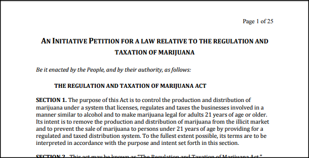 Actual law that established in 2016 that recreational marijuana or weed would be legal in Massachusetts.