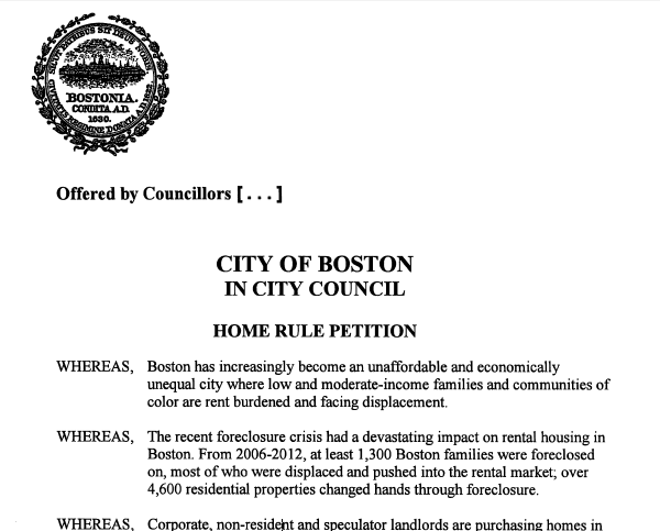 Cover Screenshot of Boston Home Rule Petition Fall 2015 for Just Cause Evictions