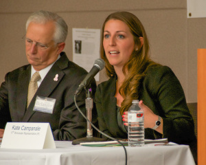 From left to right, Doug Belanger and Kate Campanale, both candidates for 17th Worcester Representative, during the MassLandlords.net Small Business Candidates' Night 2014.