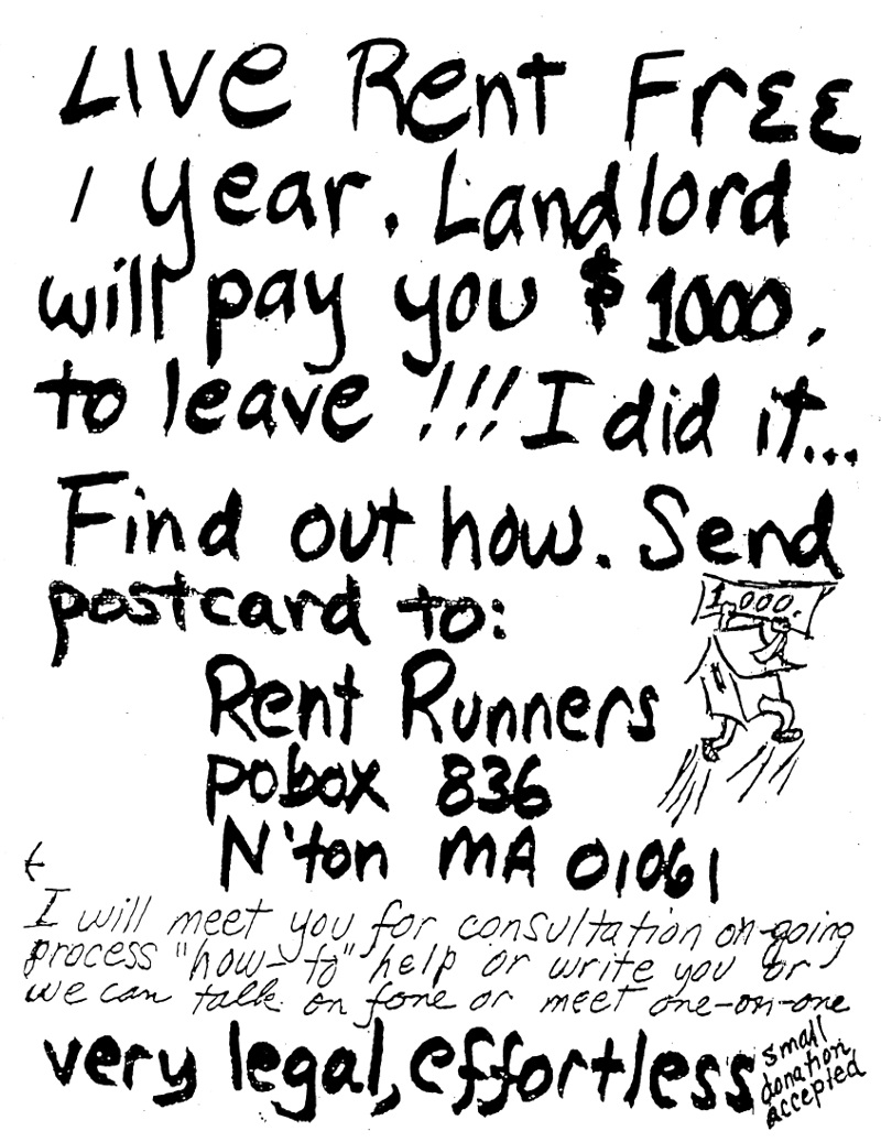 Poster from Northampton MA c. 1995 advertising instruction for performing the free rent trick