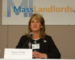 Karyn Polito, running for Lt. Governor on the Charlie Baker gubernatorial ticket, gets introduced at the MassLandlords.net Small Business Candidates' Night 2014.
