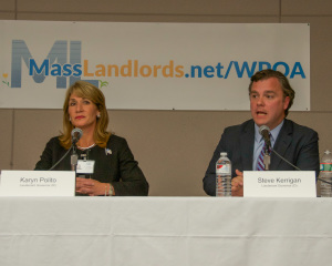 Karyn Polito and Steve Kerrigan, each seeking election as Lt. Governor, at the MassLandlords.net Small Business Candidates' Night 2014.