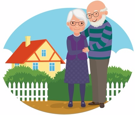 Old man and wife standing near house