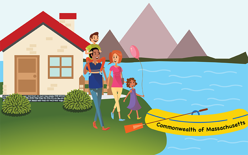 "picture of happy family in berkshires with mountains in background stepping onto yellow rubber raft with ""Commonwealth of Massachusetts"" written on the side"