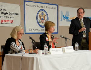 From left to right: Ms. Patricia Saint Aubin, seeking election as Massachusetts State Auditor, state Auditor Suzanne Bump, seeking reelection, and moderator Ray Mariano at the MassLandlords.net Small Business Candidates' Night 2014.