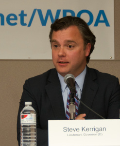 Steve Kerrigan, running for Lt. Governor on the Martha Coakley gubernatorial ticket, during the MassLandlords.net Small Business Candidates' Night 2014.
