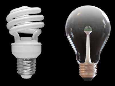 CFL vs LED. Images CC-SA by Sun Ladder (left) and Alexander Sales (right).