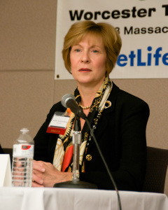Massachusetts Auditor Suzanne Bump at the MassLandlords.net Small Business Candidates' Night 2014.