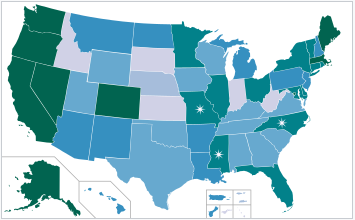 List of states where marijuana or legal are legal as of December 13, 2016. Click for updated list.