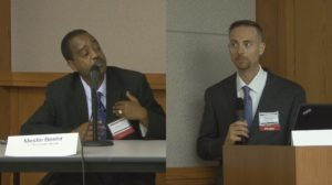Screenshot of Mesfin Beshir and Rich Merlino at Candidates Night 2016.
