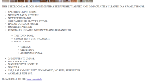 A craigslist apartment ad showing lists inside of lists