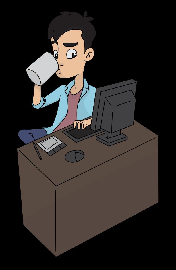 cartoon of guy at computer