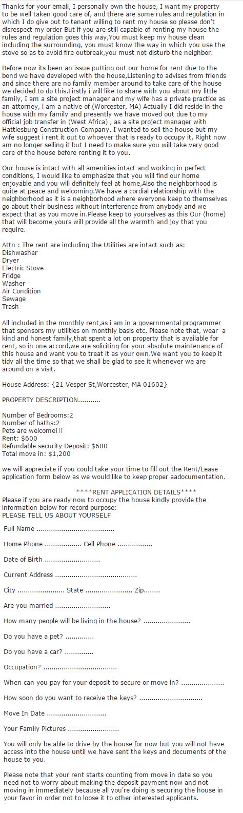 New Craigslist Apartment Rental Scam - MassLandlords.net