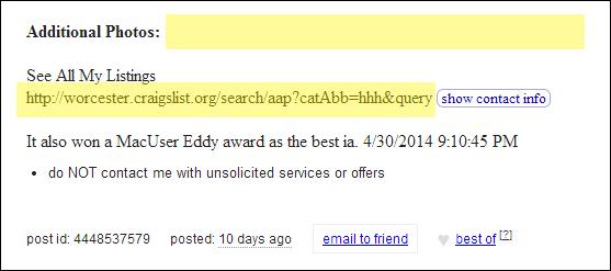 Craigslist Ad Censored! No fancy images or external links allowed.