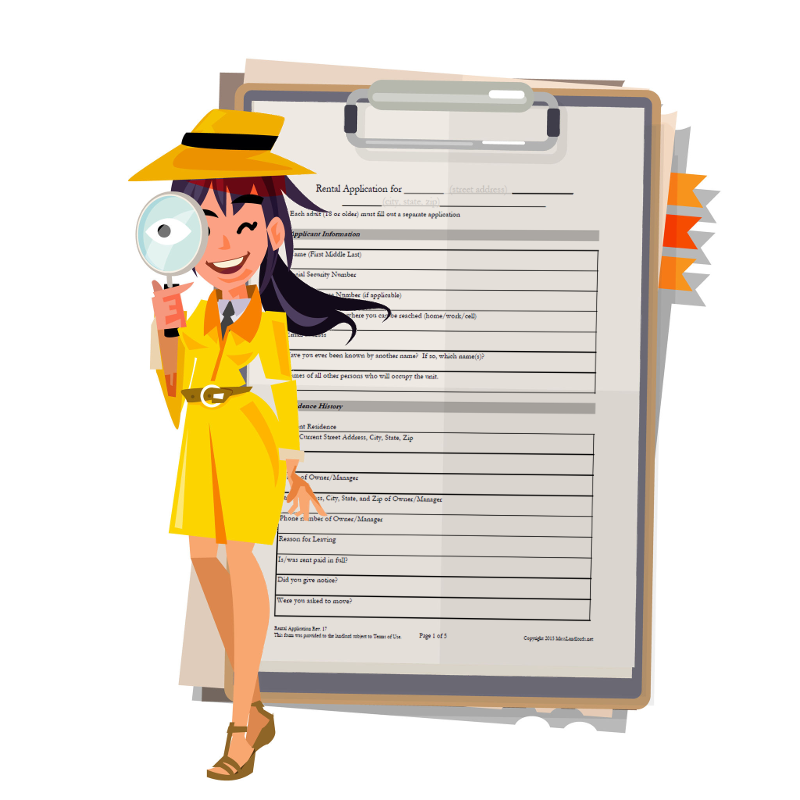 detective in front of a rental application