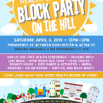 poster for worcester health and housing block party on the hill