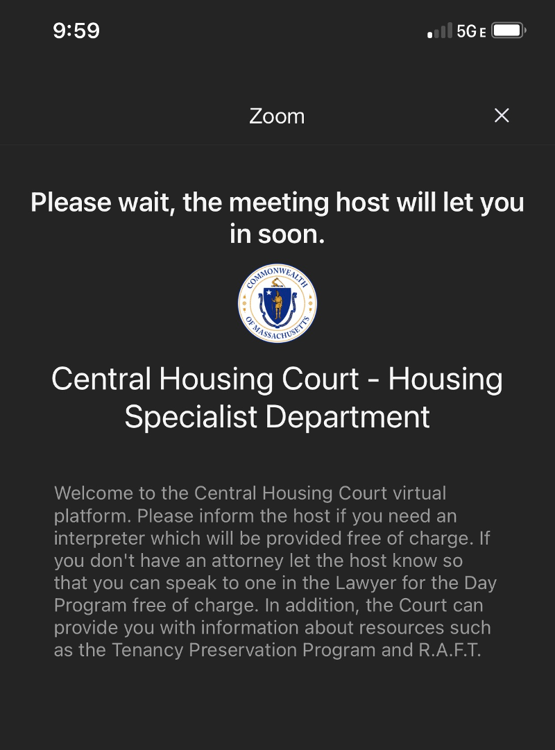 screenshot of the housing court zoom waiting room; note that it advises renters and landlords about their right to an interpreter, lawyer for the day, rental assistance, etc.