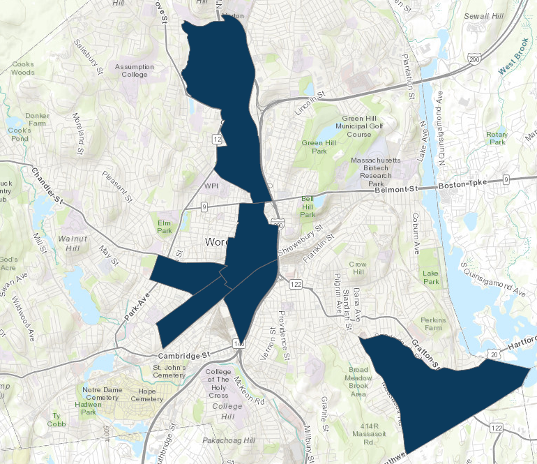 qualified opportunity zones map Worcester