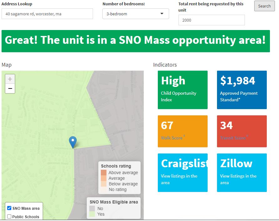 screenshot of the seeking neighborhood opportunity sno mass locator tool