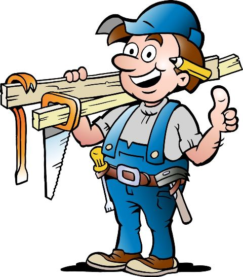 cartoon handyman contractor