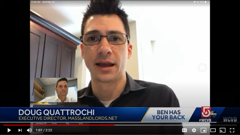MassLandlords Executive Director Doug Quattrochi, screenshot from WCVB Ben has Your Back, March 31, 2020.