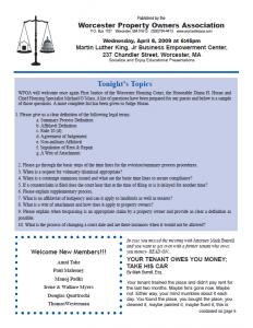 WPOA Newsletter Welcoming Douglas Quattrochi, with Sandra Katz discussing Judge Diana Horan